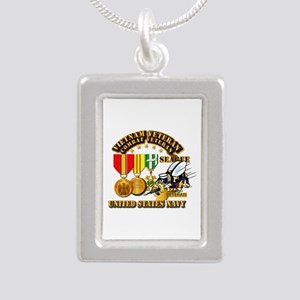 Navy - Seabee - Vietnam Silver Portrait Necklace